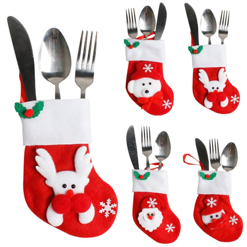 Christmas Socking Dinnerware Cover Decoration Xmas Fork Tableware Bag Kids Candy Bags Hanging Ornaments adorno navidad