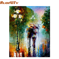 Frameless Romantic Lover DIY Painting By Numbers Kits Coloring Painting By Number Home Wall Decor For
