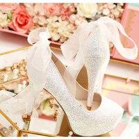 Женская свадебная обувь на высоком каблуке Лодочки на платформе обувь с украшением в виде кристаллов ленты лук обувь в стиле шик невесты по
