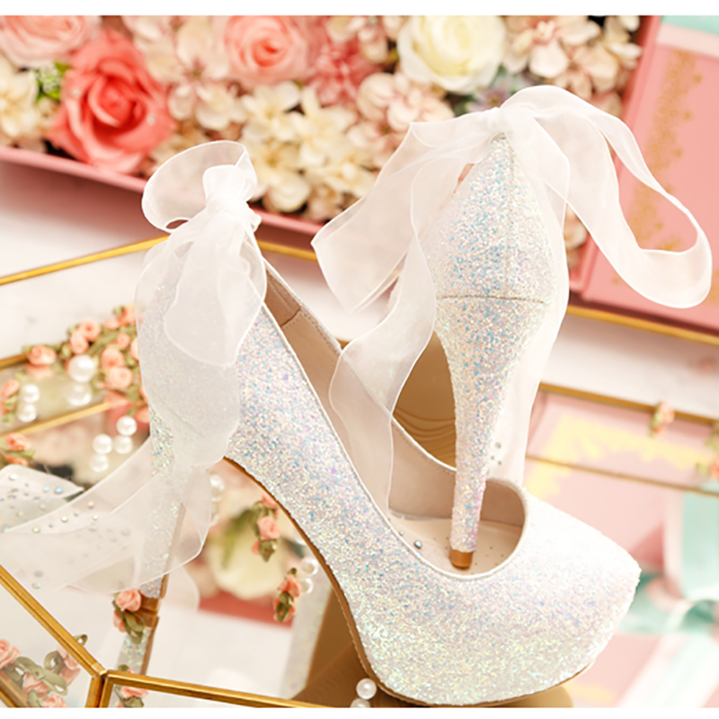 Women Wedding Shoes High Heels Platform Pumps Crystal Shoes Ribbon Bow Bling Shoes Bride Birthday Gift Box Ladies Party Shoes apoepo handmade wedding bride shoes bling bling crystal pregnant shoes 3 5 cm increased internal low heels shoes mary janes shoe
