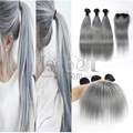 Ombre 1B/cinza tecer cabelo com fecho para a menina da moda Em Linha Reta ombre cabelo brasileiro com fecho de 3 + 1 Pcs/Lot 100% cabelo humano