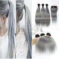 Ombre lía con cierre 1B/gris armadura del pelo recto 8-28 pulgadas ombre humano pelo brasileño con cierre pelo para muchachas de la manera