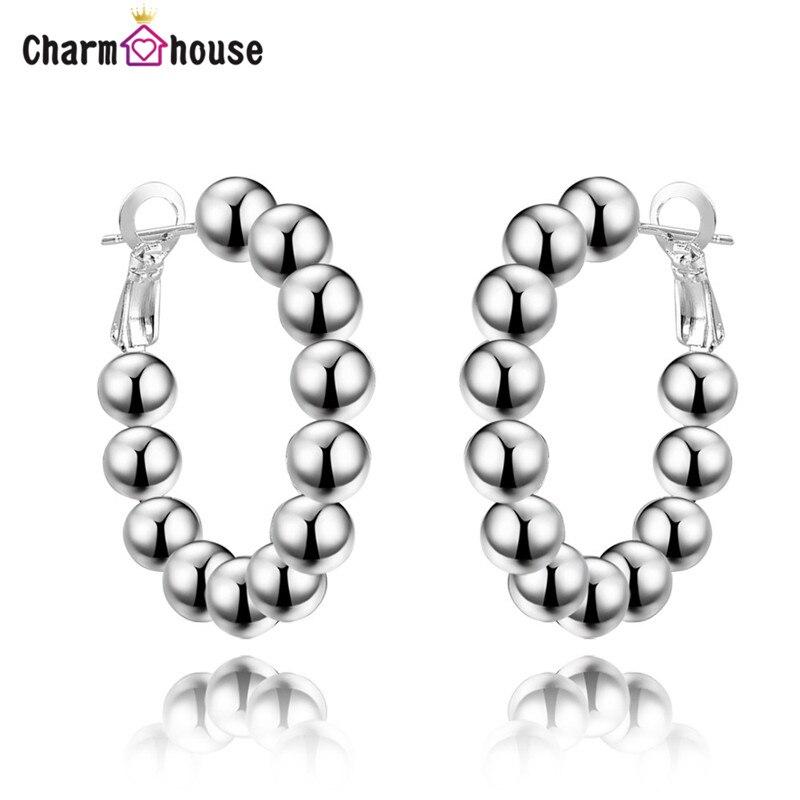 20fcd9c44 8mm Buddha Beads Round Hoop Earrings Women Silver Earrings Fashion Jewelry  Accessories Wedding Gifts Fine Pendientes Bijoux