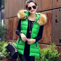 Новый 2016 женщины вест зимний длинный теплый рукавов из искусственного меха воротник пуховик с капюшоном хлопка-ватник жилет пальто женский WY427