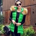 New 2016 Women Winter Vest Long Warm Sleeveless Faux Fur Collar Hooded Down Cotton Padded Waistcoat Overcoat Female WY427