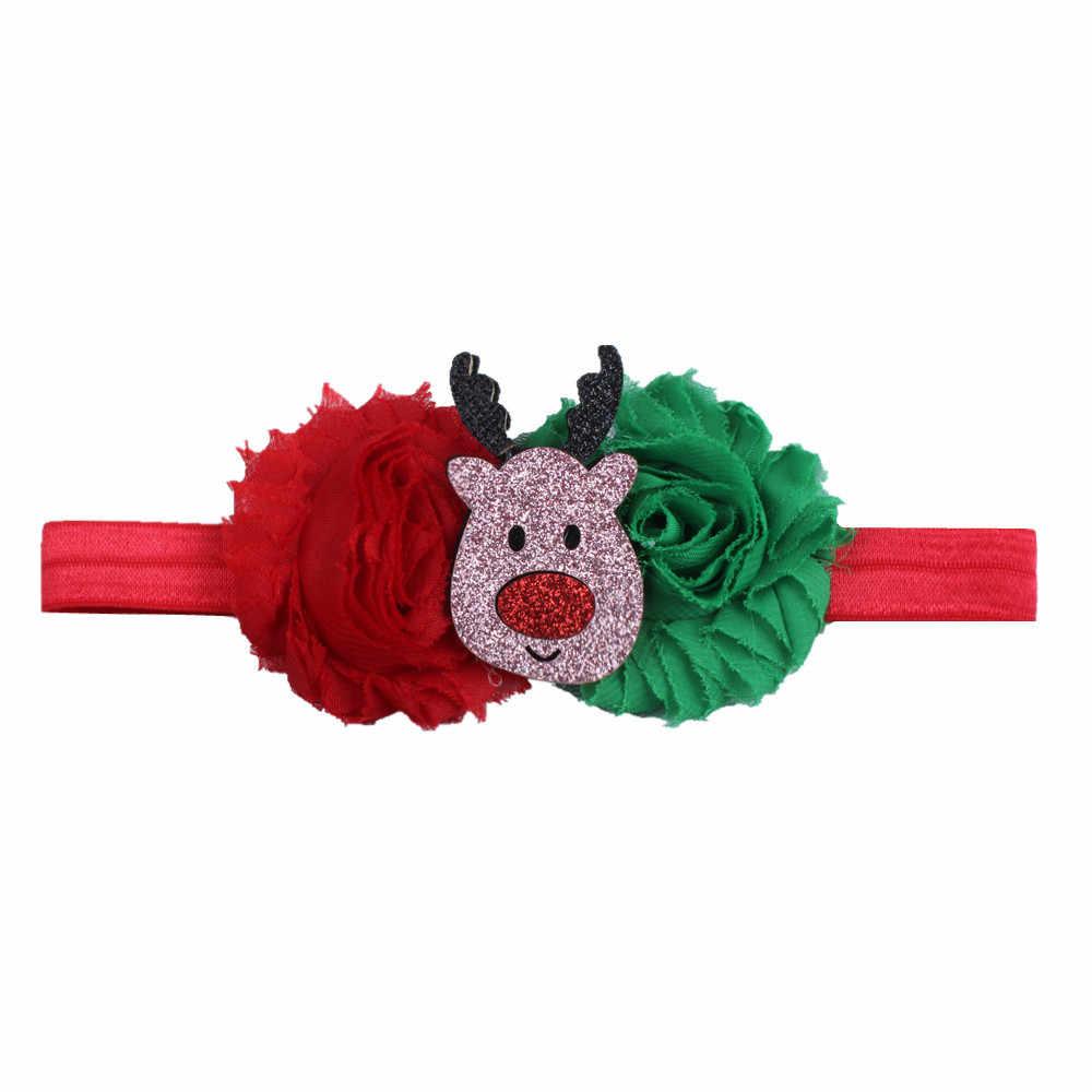 Diadema de flores de Navidad para bebé niña cinta de pelo infantil lazos de gasa sombrero recién nacido tiara diadema regalo vendaje para niños pequeños