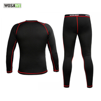 WOSAWE Men Cycling Base Layers Thermal Fleece Base Layer Outdoor Sports Thermal Underwear Set Winter Warm