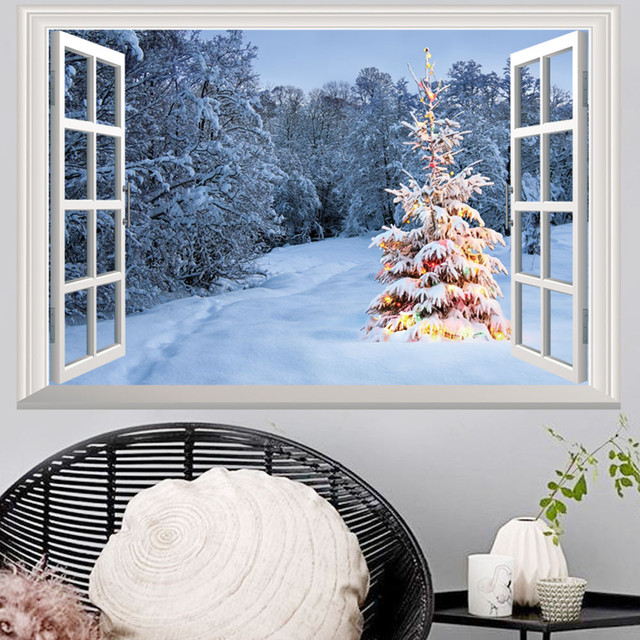New year christmas holiday window wall stickers home decor living room decoration vinyl wall stickers muraux