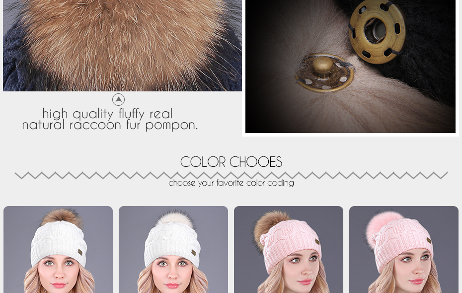 [boapt] Double-deck Knitted Wool Real Natural Raccoon Fur Pompon Hat Female Winter Braid Cap Headgear For Women Skullies Beanies HTB1vv6OcvMTUeJjSZFKq6ygopXai