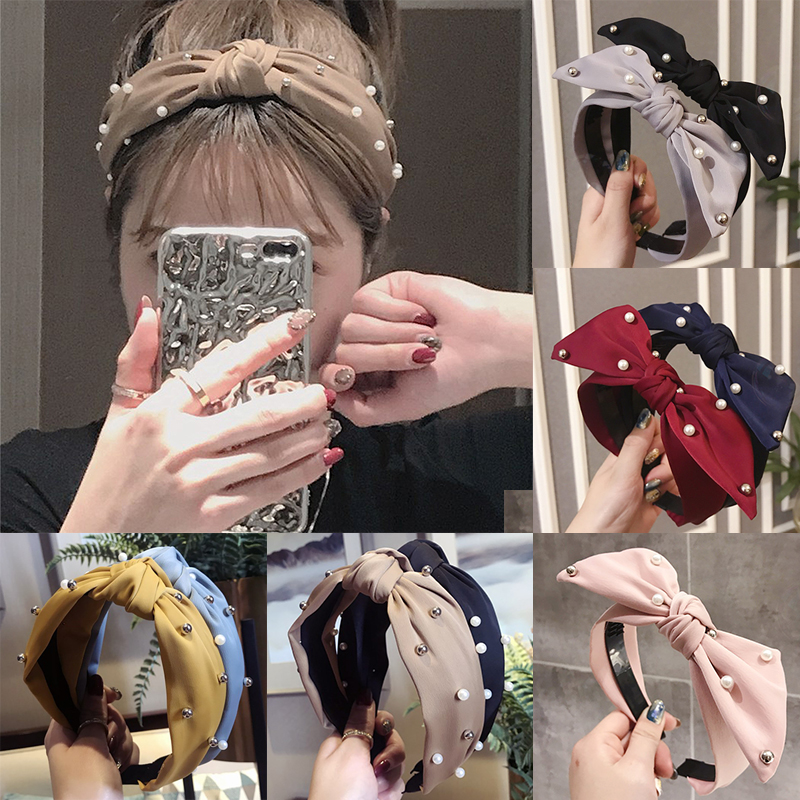 Fashion pearl headband wide side Turban Hairband girl wedding party hair accessories women female cross bow knotted headdress in Women 39 s Hair Accessories from Apparel Accessories