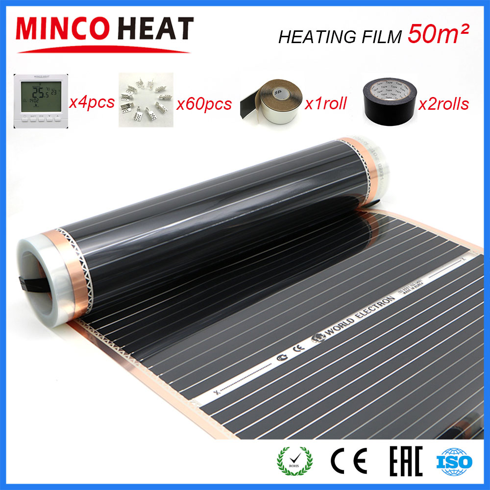 50M2 110W/M Far Infrared Floor Heating Film 50cm X 100m With Accessories AC220V Surface Temperature 40-50 Degree C