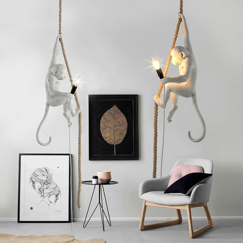 Modern Europe Creative White Resin Monkey Hemp Rope E14 Pendant Light Hanglamp For Home Lightings/Cafe/Bar Suspension Lighting modern creative design resin monkey loft vintage hemp rope pendant lights for home lighting bar cafe retro hanging pendant lamp