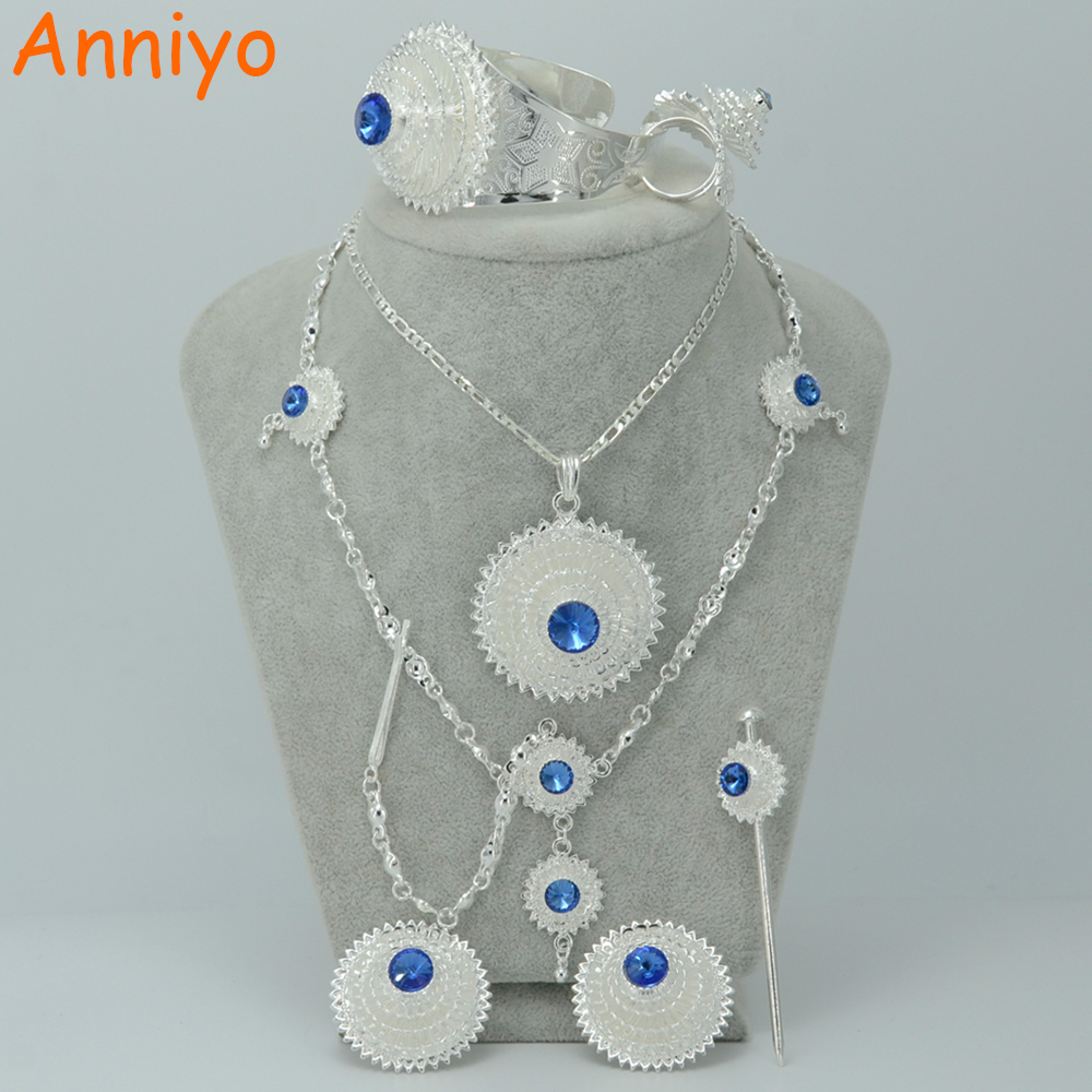 Anniyo Silver Color Ethiopian Jewelry Set W/Blue Stone Habesha Bride Wedding Eritrea Forehead Chain Hair Piece #000617