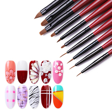 1Pc Wooden Handle Nail Brush Mixed Size Acrylic Soft Brushes Liner Painting Pen 3D Flower Drawing Tool