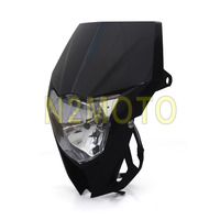 Black Dual Sport Off Road Streetfighter Enduro Motorcycle Vision Headlight For YAMAHA YZ TTR WR XT 250 450 600 WR250F WR450F