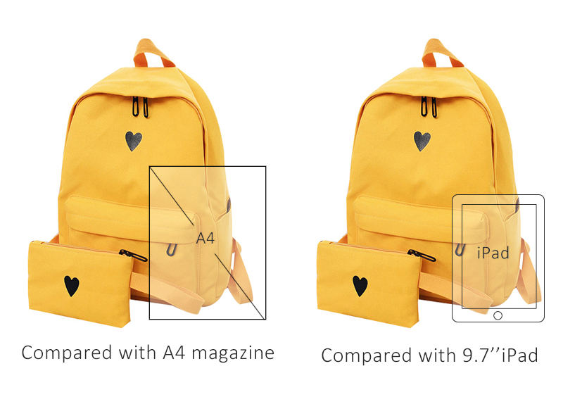 HTB1vv7CHf9TBuNjy0Fcq6zeiFXan Moon Wood Women's Backpack Canvas Printed Heart Yellow Backpack Korean Style Students Travel Bag Girl School Bag Laptop Backpack