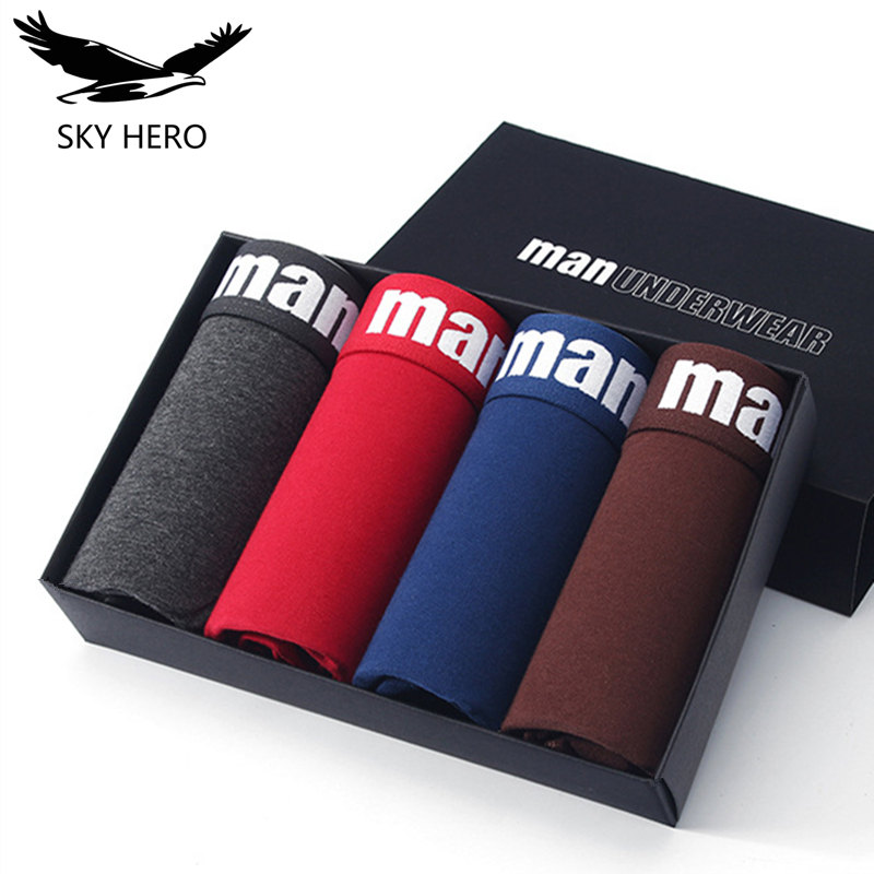 4pcs Cotton underwear men boxer underpants for male cuecas mens boxers calzoncillos hombre panties shorts boxershorts sexy man