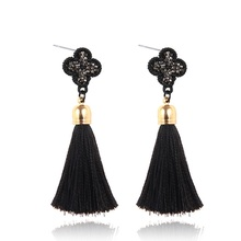 LUFANG Vintage Black Four leaves Lucky Tassels Drop Earrings Statement Fashion Boho luxury Dangle Earrings for Women Jewelry