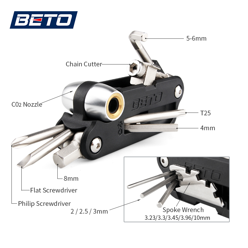 18 IN 1 Multi function Bicycle Tools CO2 Inflator Hex Key Wrench Chain Removal Multi Tools For Bike Cycling Bicycle Repair Tools in Bicycle Repair Tools from Sports Entertainment