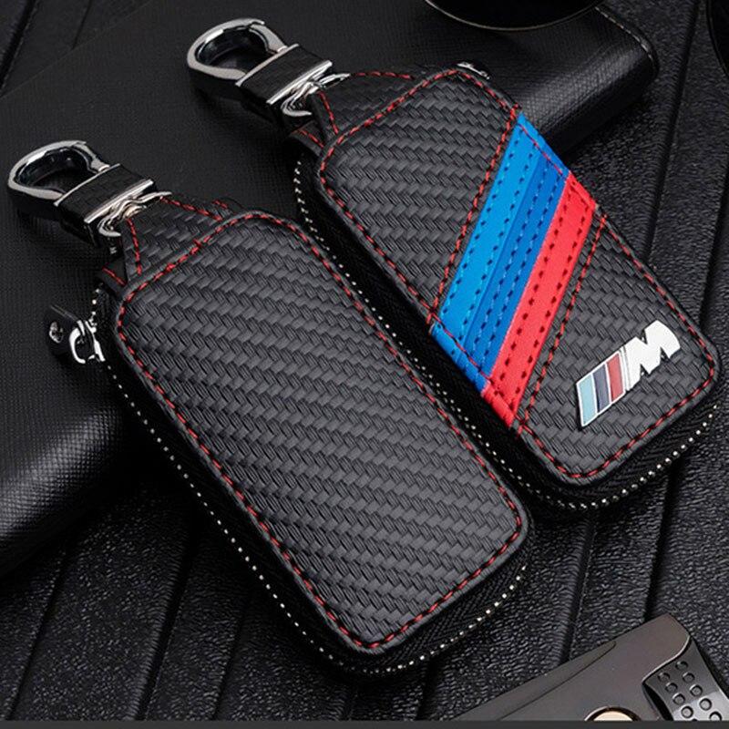Carbon Fiber Leather Key Case Cover For Bmw ///M Emblem Key Case For Bmw Key Cover F10 F30 F20 X3 X1 X5 X6 For Bwm Key Case