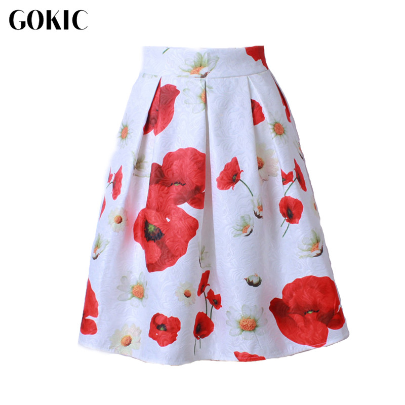 GOKIC Franchised Store GOKIC 2017 New Audrey Hepburn Style Women's tutu Skirt High Waist 3D Carving Floral Pleated Midi Skirts Vintage Ball Gown