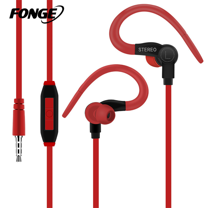 Fonge Sport Headphone Earphone 3.5mm Jack Wired Best Bass In-Ear headset Handfree Universal fone de ouvido With Mic