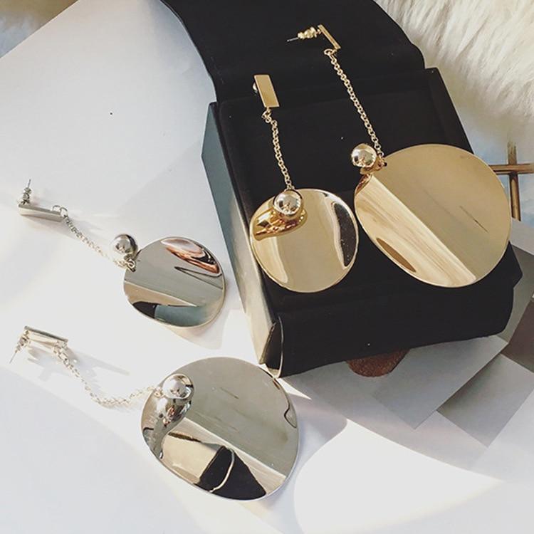 European Punk Geometric Metal Round Drop Earrings Gold & Silver Color Asymmetric Long Dangle Earring for Women Fashion Jewelry