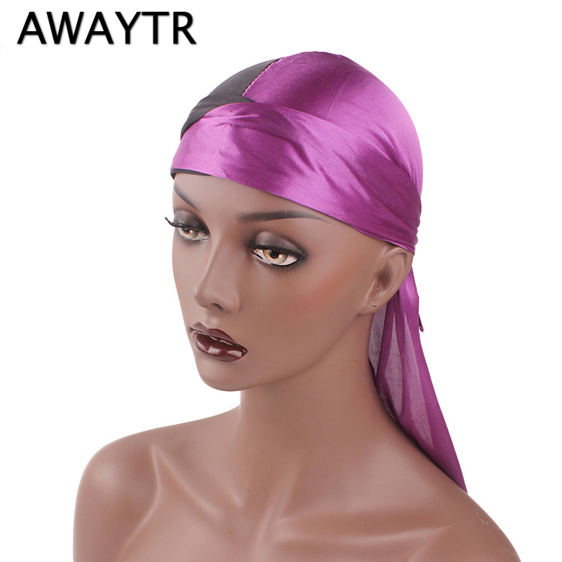 AWAYTR <font><b>Silk</b></font> <font><b>Durag</b></font> for <font><b>Men</b></font> Women Bandana Breathable Turban Hat Silky <font><b>Durag</b></font> Long Tail Headwrap Chemo Cap Hat <font><b>Men</b></font> Hair Accessories image