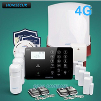 HOMSECUR Multi language Menu 4G Wireless Home Burglar Security 3G Home Security GSM Alarm System Door Security SMS Alarm