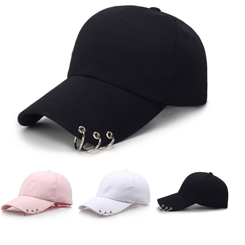 2019 Hot Women   Cap   Fashion GDBaseball   Cap   with Rings Snapback   Cap   Men Women black pink white Hip Hop Hat Dance Show Hats   Cap   Men