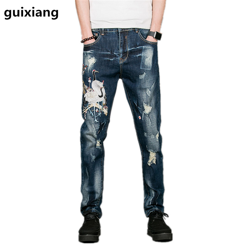 Free shipping  2017 new style men leisure fashion printed jeans  men's high quality famous brand leisure embroidered jeans
