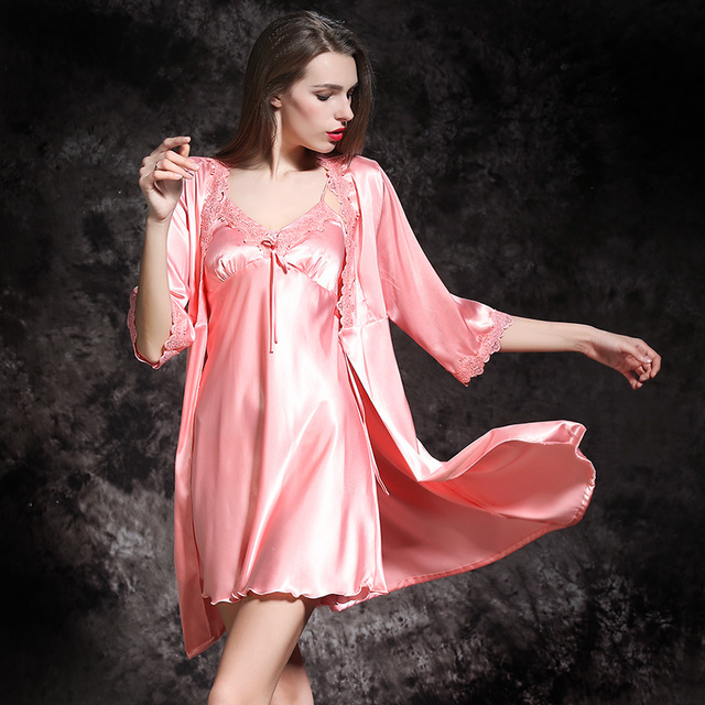 2018 New Victoria Pajamas VS Pink Silk Nightdress Women Long Sleeve Sexy Nightgown  Robe Set Satin Nightwear Ladies Night Dress 44cb65ef49