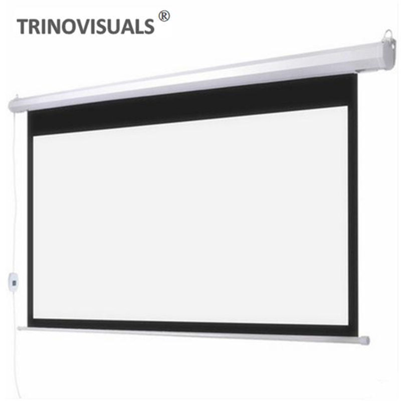 E1BJH, 80 92 100 120 inch Electric Projector Screen 16:9 Home Cinema Business School Bar Motorized LED DLP Projection Screen image