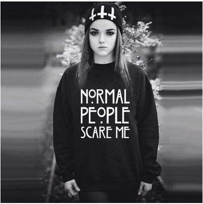 YEMUSEED H1026 NORMAL PEOPLE SCARE ME 2016 New Letters Print Funny Harajuku Tracksuit For Women Sweatshirt Hoodies 6