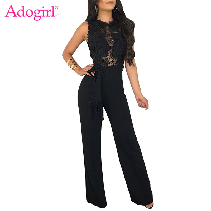 Adogirl Sexy Sheer Lace Applique Casual   Jumpsuit   Solid Black White Red Sleeveless Romper with Belt Women Wide Leg Pants Overalls