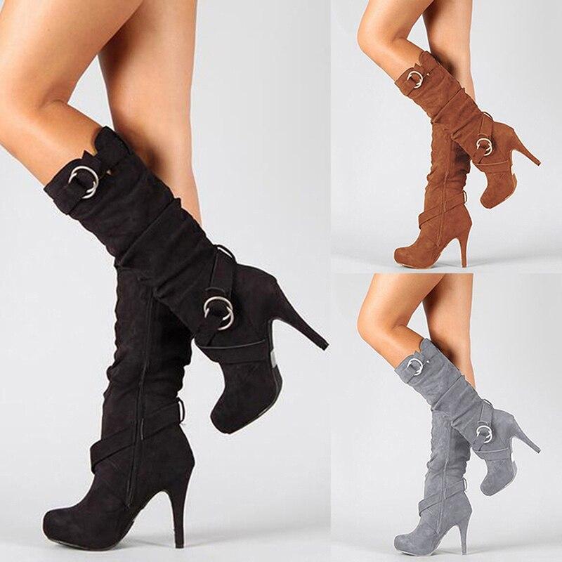 2018 Sexy Knie Hohe Frauen Stiefel Thin High Heel Runde Kappe Plattform Mode Damen Pu Leder Stiefel Größe 34- 43 Dame Schuhe
