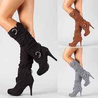 2019 Sexy Knee High Women Boots Thin High Heel Round Toe Platform Fashion Ladies PU Leather Boots Size 34-43 Lady Shoes