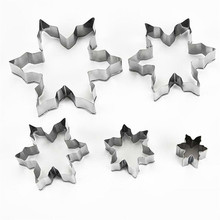 5 Pcs DIY Stainless Steel Baking Tool Christmas Snowflake Cookie Mould Cake Mold For Home Kitchen Supplies