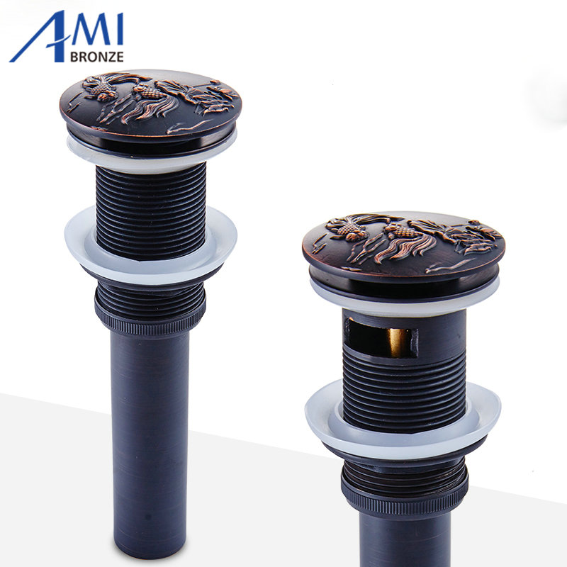 Black Bronze Brushed Brass Bathroom Basin Sink Drainer Push Down Pop-up Drain Overflow/Non-overflow Embossed Carved Fish