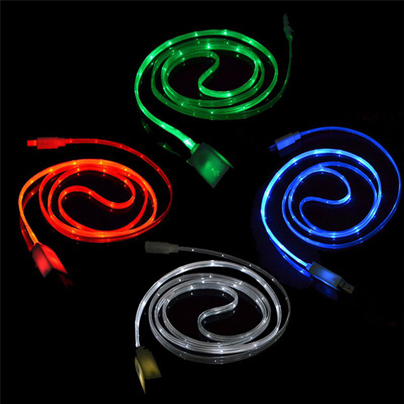 Jusfyu Brand New Universal 1m Flash Usb Cable Visible Led