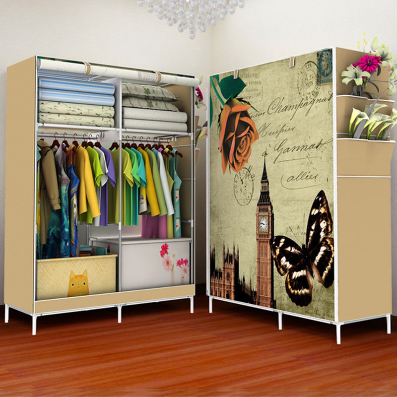 Simple Non-woven Cloth Folding Wardrobe DIY Assembly Bedroom Clothes Storage Cabinet Panoramic Pattern Large Wardrobe Closet