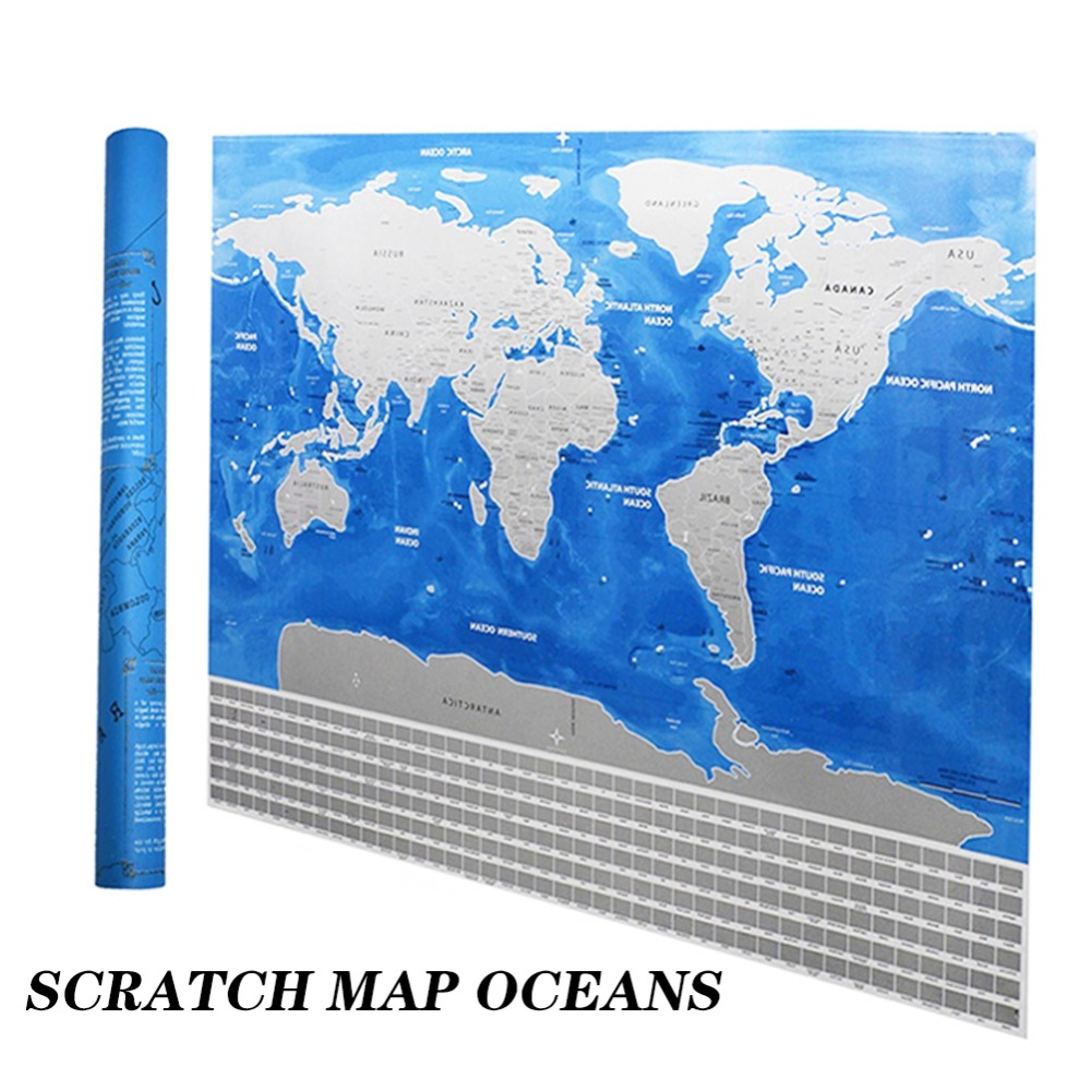 1 pc Scratch Map Blue Personalized Flag World Scratch Map Mini Scratch Off Foil Layer Coating Poster Wall Stickers world map wall sticker
