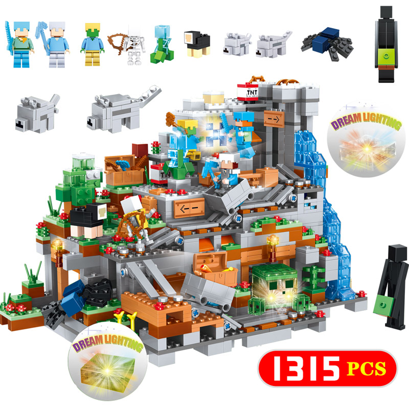 1315PCS Organs Of The Cave Building Blocks Compatible LegoINGLYS Minecrafted Figures 3D Dream Lighting Bricks Toy Christmas Gift classic batman robin base cave rescue poisonous female figures weapom compatible legoinglys super hero building blocks gift