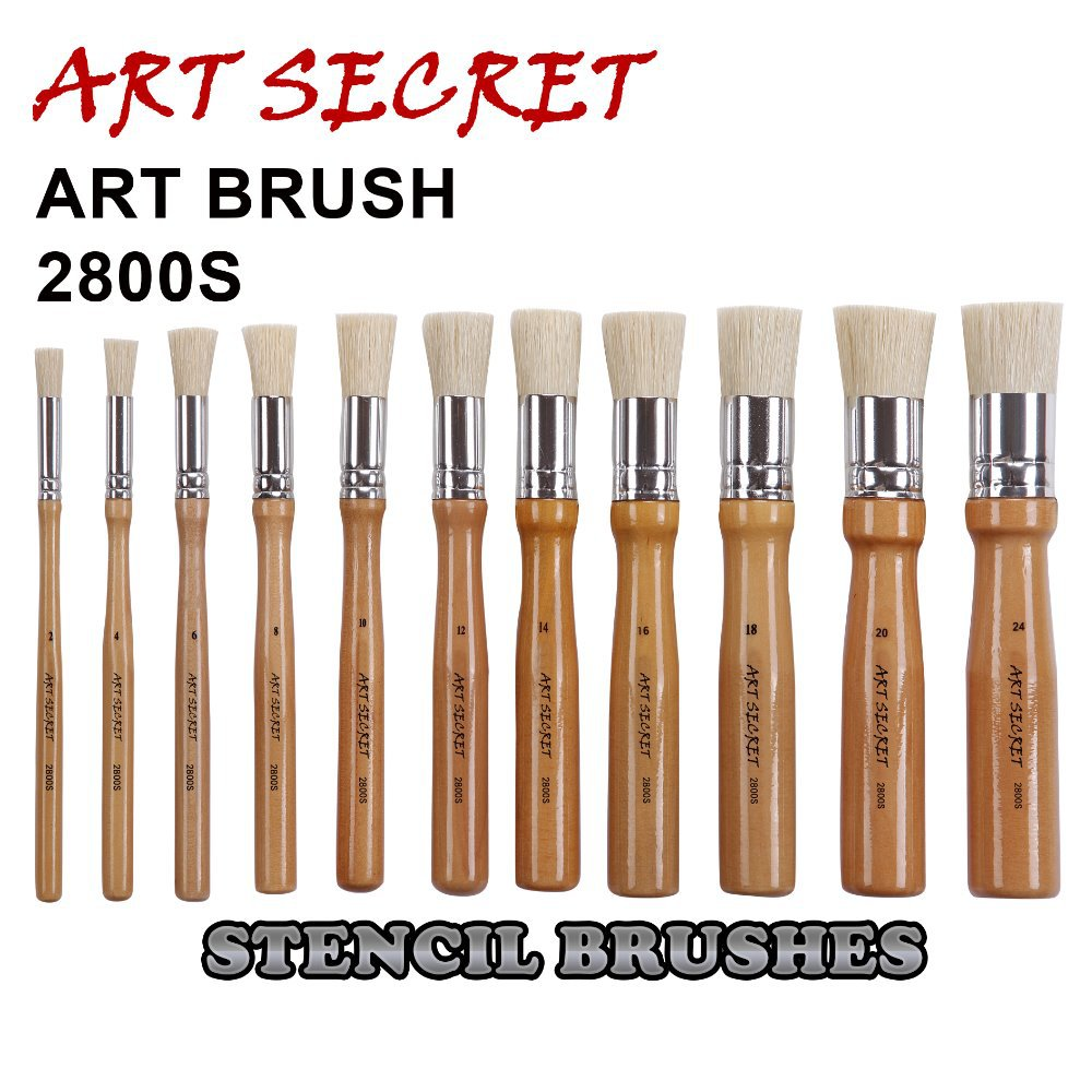 2800S High Quality Hog Bristle Hair Brass Ferrule Short Wooden Handle Oil Acrylic Brush