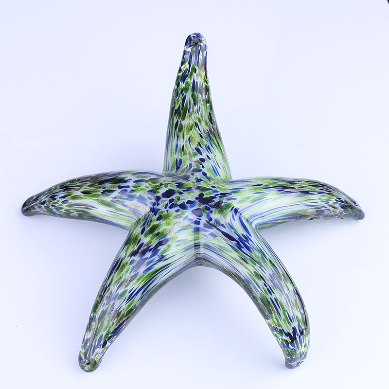 "New 5/"" Large Hand Blown Art Glass Starfish Figurine Sculpture Statue Blue Clear"