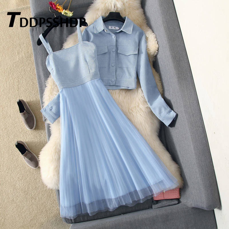 Fashion 2019 Women Dress With Out Wear Apricot Blue Pink Color Two Piece Suit Spring Female Dresses