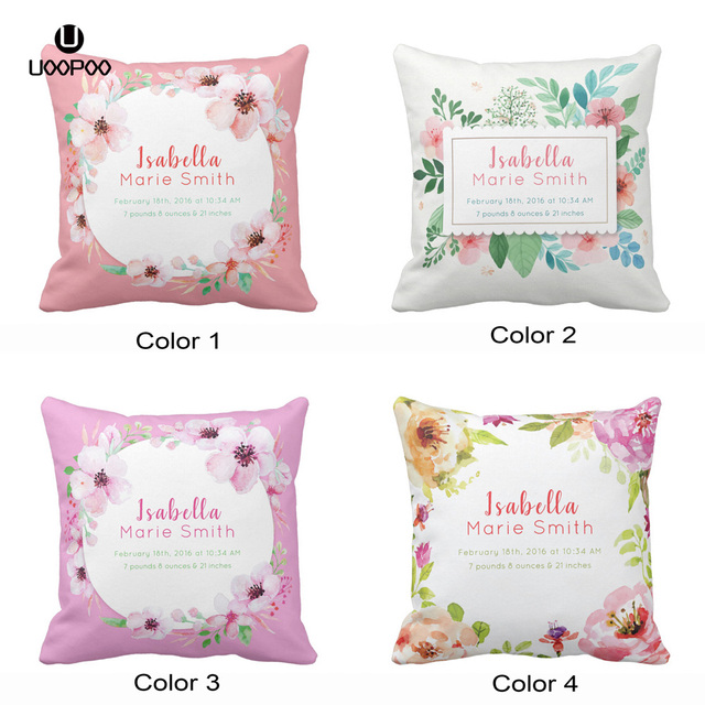 Custom Baby Birth Stats Elegant Fl Nursery Throw Pillow Cover Soft Polyester Home Decorative Cushion