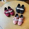 Meninas kids shoes moda couro partido shoes crianças ovely diamante princesa meninas solteiras shoes crianças flor plano casual shoes
