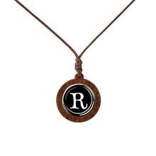 26 Letters Necklace A-Z Alphabets Glass Cabochon Wood Pendant Name Initial Men Women Fashion Jewelry