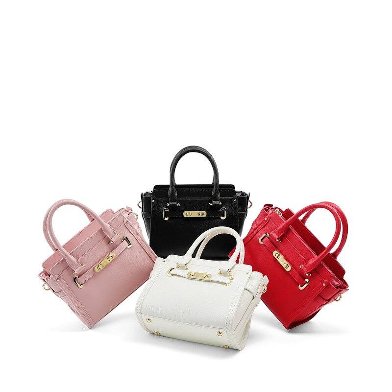2018 New Women Fashion Handbags Luxury Brand Design Red Black Beige Pink Genuine Leather Shoulder Bags